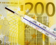 Euro money and a thermometer