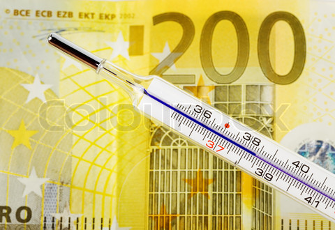 Euro money and fever thermometers. Boom and bust in Europe.