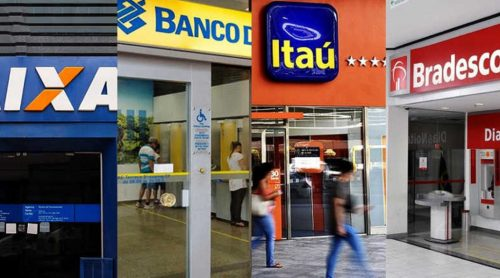Foto do Banco Caixa, Banco do Brasil, Itaú e Bradesco